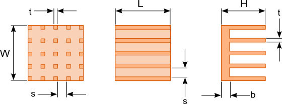 plate and pin fin heat sink dimensions